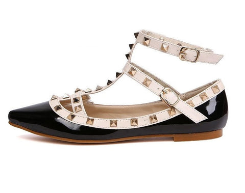 Womens Urban Edgy Studded Ankle Flats