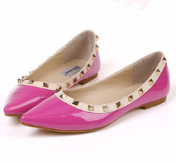 Trendy Rivet Stylish Point Toe Flats