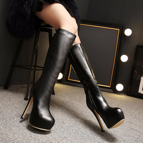 Trendy Knee High Riding Black Heel Boots