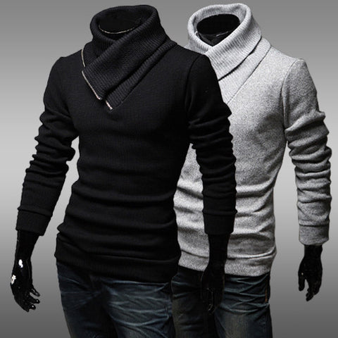 Mens Comfortable Turtleneck Wrap Sweater
