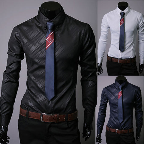 Mens Slim Fit Striped Work Casual Shirt
