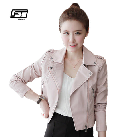 Womens Leather Soft Pu Pink Coats Short Design Slim Cute Faux Motorcycle Jacket