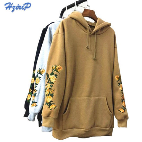 Womens Elegant Embroidery Flowers Long-sleeved Pullover Fashion Hoodies