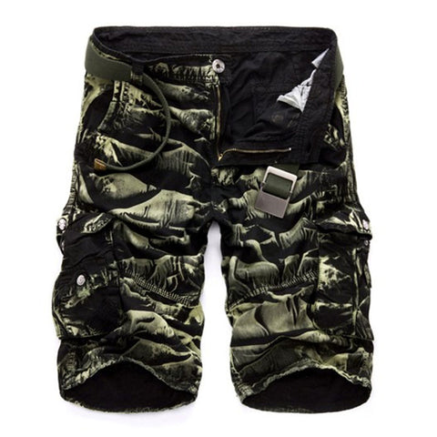 Mens Military Cargo Army Camouflage Cotton Loose Work Casual Shorts