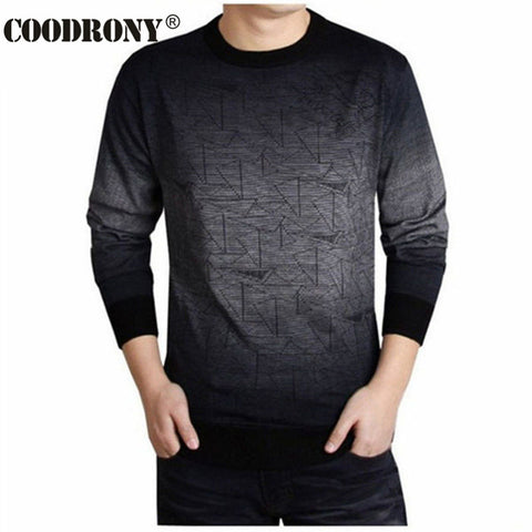 Mens Cashmere Print Hang Dye Casual Shirt Wool Pullover Sweater
