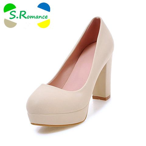 Womens Pumps Slip-On Elegant Round Toe High Heels