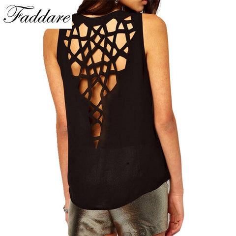 Womens Sexy Back Hollow out Shirt O-Neck Sleeveless Casual T-Shirt Top Vest