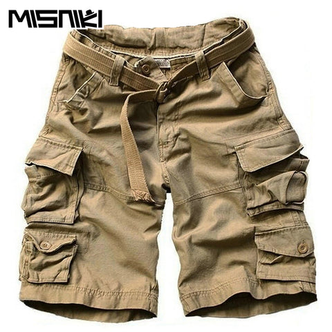 Mens Summer Multi-pocket Camouflage Casual Loose Knee-length Cargo Shorts With Belt