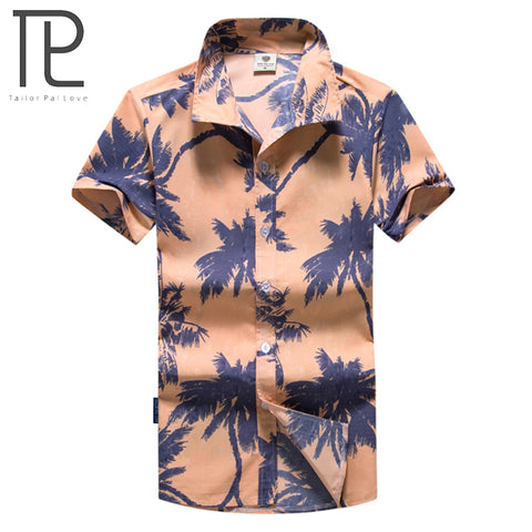 Mens Slim Fit Summer Fashion Print Beach Short Sleeve Shirt