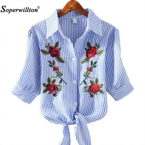 Womens Embroidery Floral T-Shirt  Summer Bow Casual Cotton Slim kimono Top