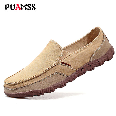 Mens Canvas Fashion Solid Comfortable Casual Lace-up Light Summer Loafers Shoes