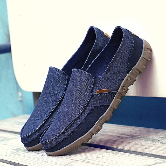 f25a30cd63c Mens Canvas Fashion Solid Comfortable Casual Lace-up Light Summer Loafers  Shoes