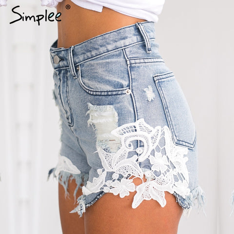Womens Hot Ripped Pocket Summer Lace Vintage Denim Shorts