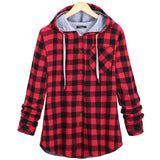Womens Cotton Winter Coat Long Sleeve Plaid cotton Hoodies