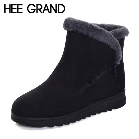 Womens Winter Warm Faux Fur Snow Fashion Solid Ankle Boots Casual