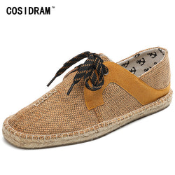 Mens Hemp Soft Casual Lace-Up Breathable Espadrille Shoes