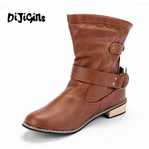 Womens Motorcycle Round Toe Square heel Boot Casual Shoe