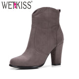 Women Side Zipper High Heels Round toe Winter Boot
