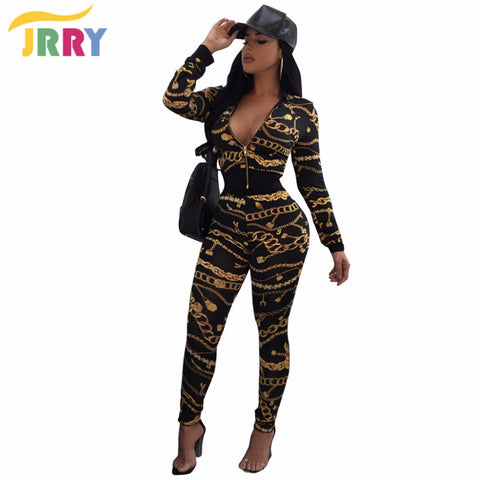 Womens Casual Two Piece Pattern Chain Long Sleeve Zipper Top Long Pants Jumpsuit