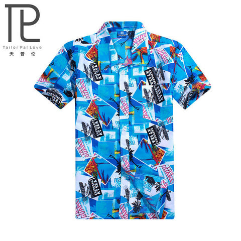 Mens Summer Hawaiian Beach Coconut Tree Print Shirt