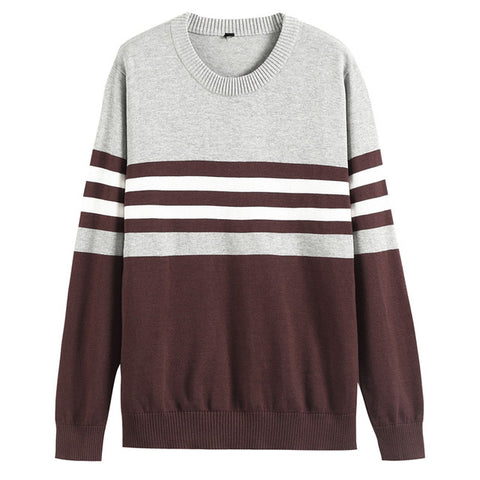Mens Classic Stripe 100% Cotton O-neck Slim Fit Knitting Pullover Casual Sweater
