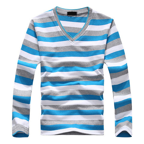 Mens Long Sleeve Cotton Stripe Pullover Sweater