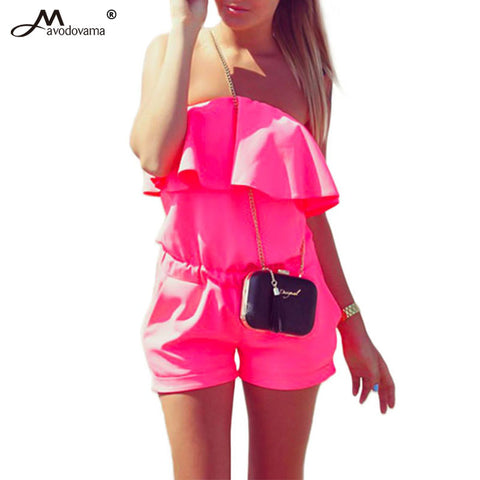 Womens Jumpsuit Summer Fashion Casual Ruffle Strapless Romper