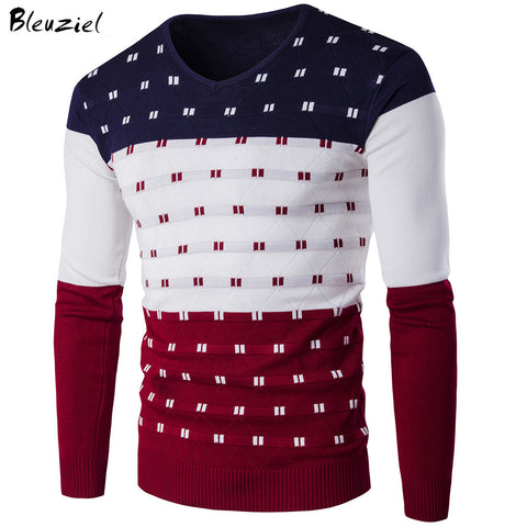 Mens Striped Warm Long Sleeve V Neck Winter Slim Fit Print Pullover Sweater
