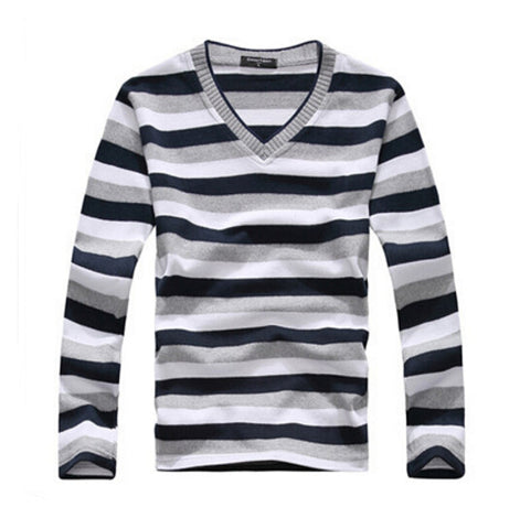 Mens Long Sleeved Cotton Striped Pullover Casual Sweater