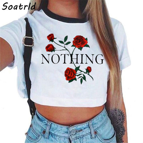 Women's Nothing Letter Rose Crop Top Short Sleeve T Shirt
