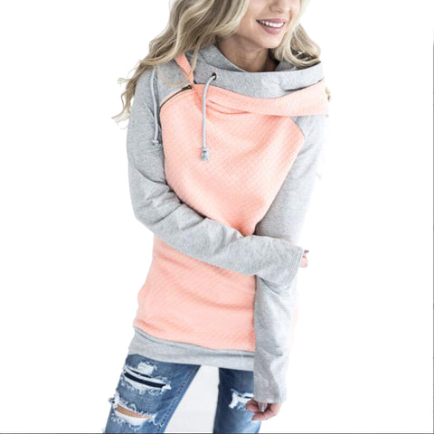 Womens Oversize Pullover Female Patchwork Double Sweatshirt Hoodie