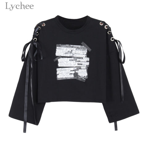 Womens Crop Sweatshirt Letter Print Lace Up Long Sleeve Casual Pullover