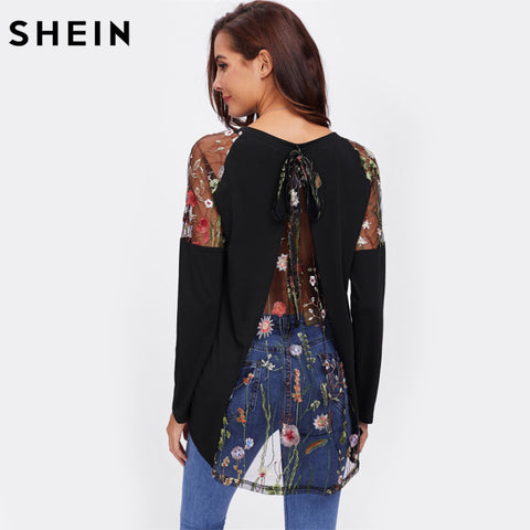 Womens Lace Shoulder Bow Overlap Back Tee Long Sleeve T shirt