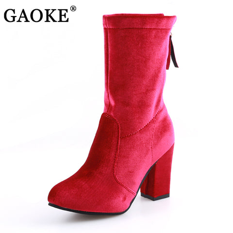 Womens Round Toe Elastic Ankle Thick Heel High Heel Boots