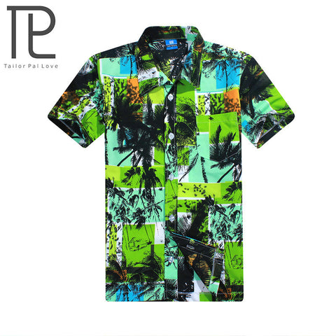 Mens Slim Fit Summer Fashion Beach Men Short Sleeve Casual Hawaiian Shirt