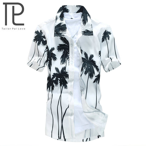 Mens Slim Fit Hawaiian Casual Printed Beach Short Sleeve Shirt