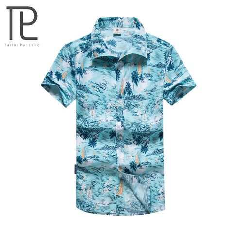 Mens Slim Fit Hawaiian Summer Fashion Short Sleeve Casual Male Shirt