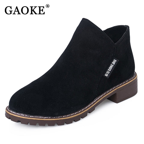 Womens Classic Zipper Ankle Boots