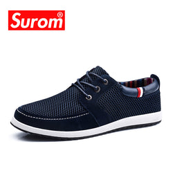 Mens Lace up Cut out England Suede Patchwork Mesh Fashion Casual Shoes