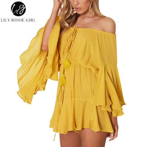 Womens Off Shoulder Yellow Sexy Playsuit Big Flare Sleeve Jumpsuit Beach Party Casual Backless Romper