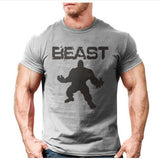 Mens Bodybuilding Fitness beast printed t-shirt