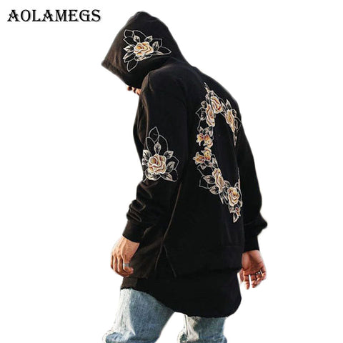 Mens Embroidery Floral Hooded Pullover High Street Fashion Cotton Hip Hop Zipper Streetwear O-neck Hoodie