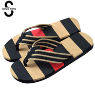Mens Flip Flop Summer Flops Outdoor Stripe Casual Sandals Slippers