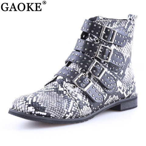 Womens Studded Ankle Winter PU Leather High Top Flat Casual Boots