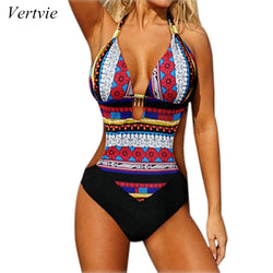 Womens Sexy One Piece Swimsuit Bathing Suit Beach Halter Monokini Push Up Retro Vintage