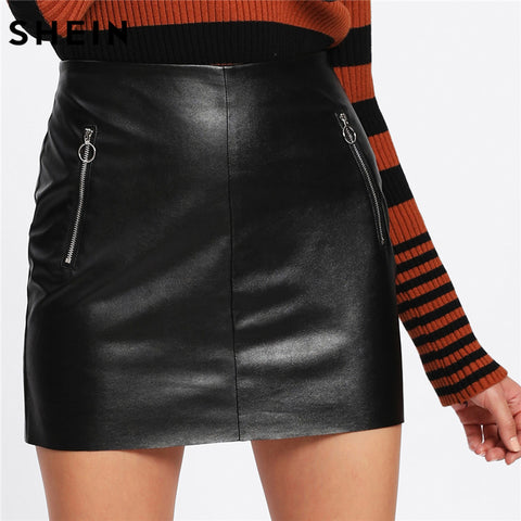 Womens Sexy Short Fashion Black High Waist O-Ring Zip Detail Faux Leather Skirt