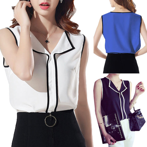 Womens Casual White V Neck Sleeveless Black Side Chiffon Shirt Work Wear Top