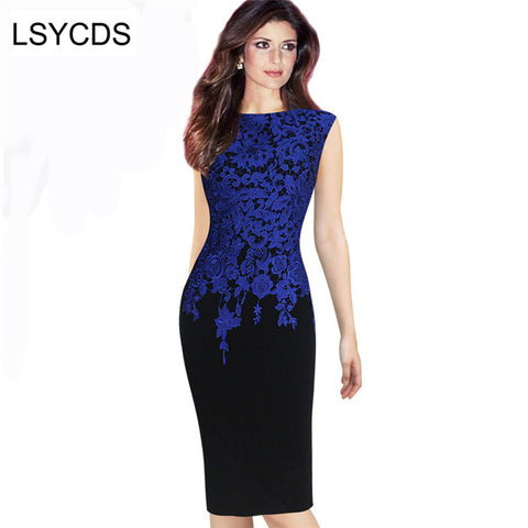 Women Lace Print Patckwork O-Neck Sexy Plus Size Pencil Dress