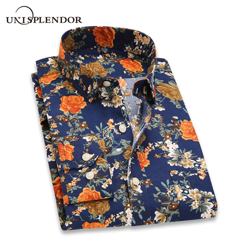 Mens Slim Fit Retro Floral Printed Casual Classic Dress Shirt