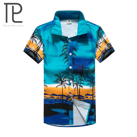 Mens Slim Fit Casual Printed Beach Shirt